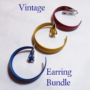 Vintage 1980s Primary Color Clip On Earring Bundle